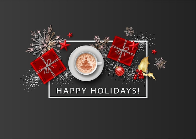 Merry christmas and happy new year holiday minimalistic banner