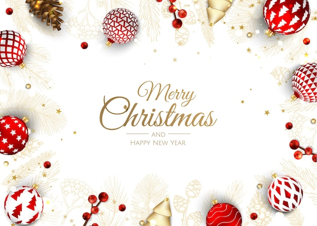 Merry christmas and happy new year holiday white banner illustration.