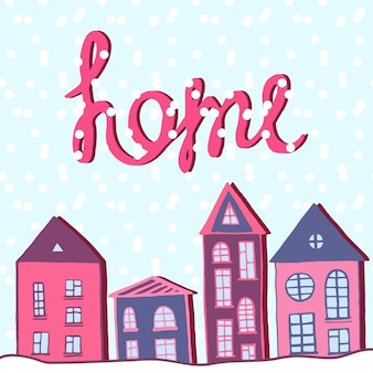Merry christmas and happy new year, home holiday. winter street with snow. vector greeting card.