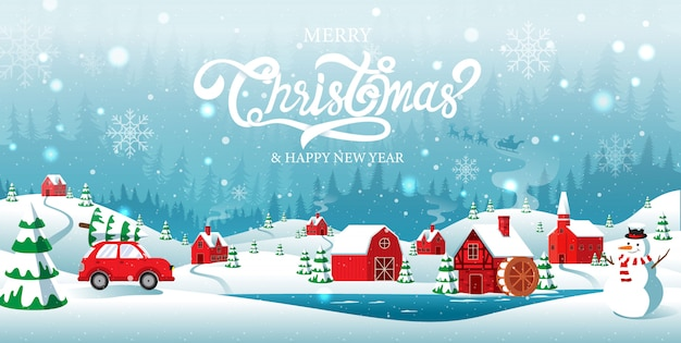 Merry christmas and happy new year home town in the forrest winter background