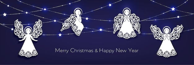Merry christmas and happy new year horizontal greeting card. white  paper cut decorative angels, garland with shine stars