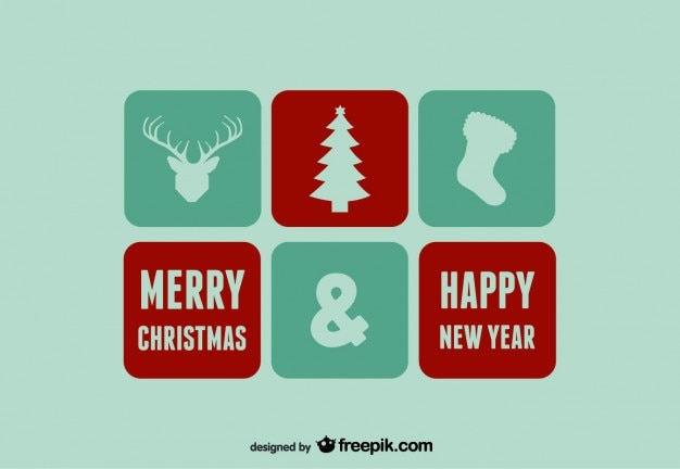 Merry christmas & happy new year icons and stamps