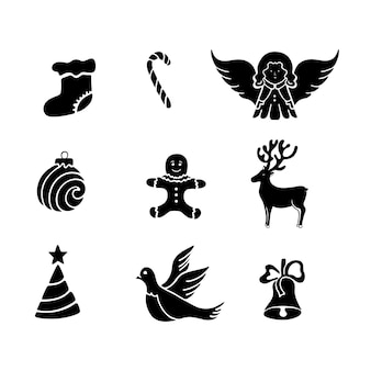 Merry christmas and happy new year icons