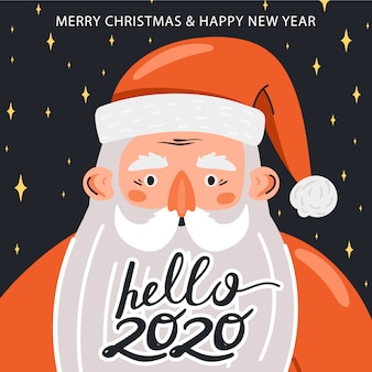 Merry christmas and happy new year illustration. funny happy santa claus character.
