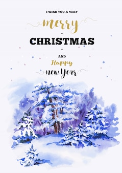 Merry christmas and happy new year illustration greeting card with winter landscape
