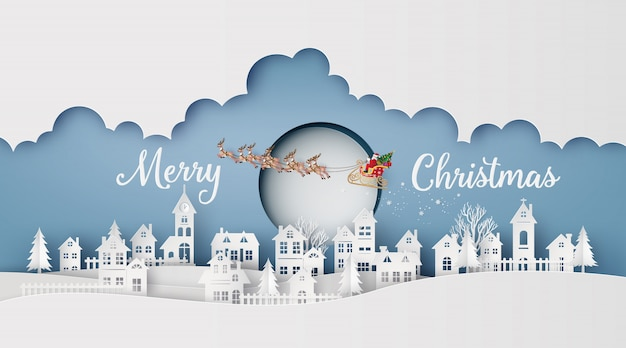 Merry christmas and happy new year. illustration of santa claus on the sky coming to city.