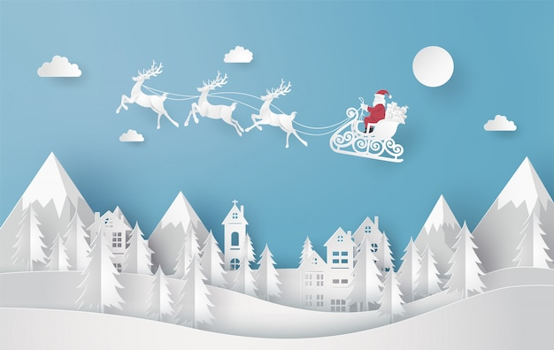 Merry christmas and happy new year. illustration of santa claus on sky