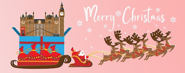 Merry christmas and happy new year. illustration of  santa claus with london landmarks