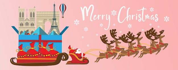 Merry christmas and happy new year. illustration of santa claus with paris landmarks