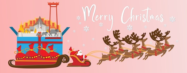 Merry christmas and happy new year. illustration of santa claus with thailand landmarks