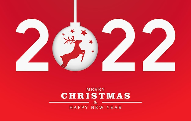 Merry christmas and happy new year illustration template 2022 papercut number with reindeer