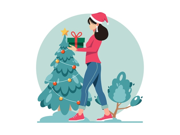 Merry christmas and happy new year illustration. woman carrying gift box. christmas present.
