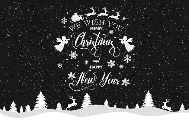 Merry christmas and happy new year inscription decorated with white snowflakes and santa claus