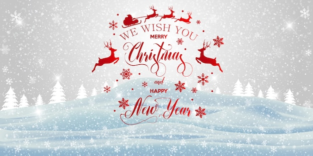 Merry christmas and happy new year inscription greeting card