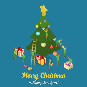 Merry christmas happy new year isometric vector illustration card
