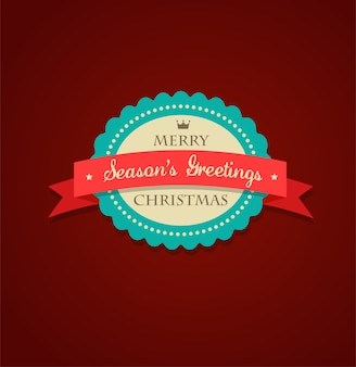 Merry christmas and happy new year label with a red ribbon.  illustration