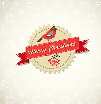 Merry christmas and happy new year label with robin and red ribbon.  illustration