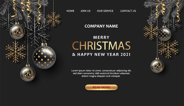 Merry christmas and happy new year landing page template with christmas decorations