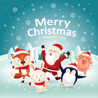 Merry christmas & happy new year! let's dance together with santa