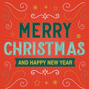 Merry christmas and happy new year letter decorative