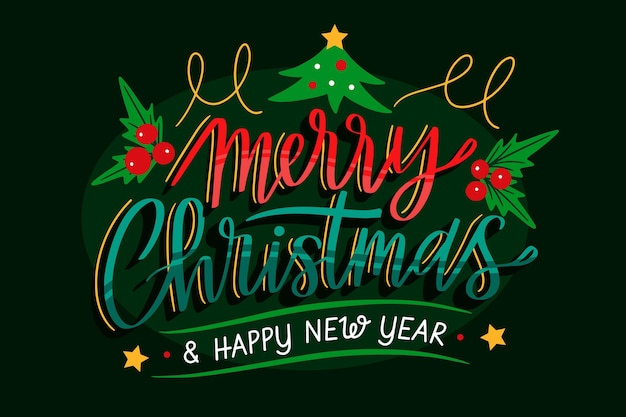 Merry christmas and a happy new year lettering background