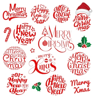 Merry christmas and happy new year lettering circle set