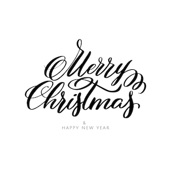 Merry christmas and happy new year lettering composition