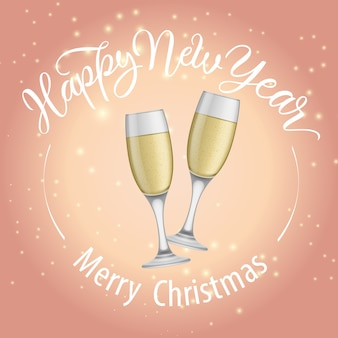 Merry christmas, happy new year lettering and goblets