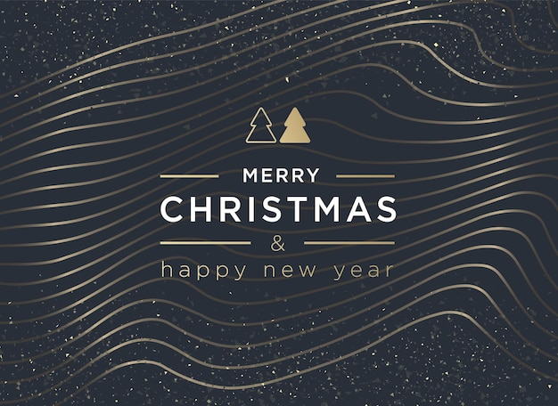 Merry christmas and happy new year lettering greeting card or invitation template vector