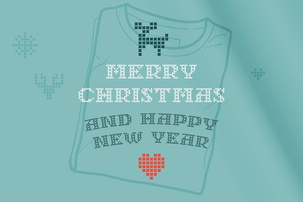 Merry christmas and happy new year lettering is made of thick round knits