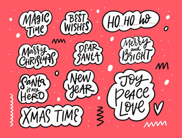 Merry christmas and happy new year lettering phrases set hand drawn black color text