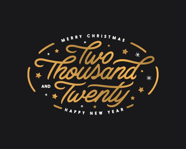 Merry christmas and happy new year lettering template. two thousand twenty