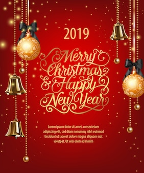 merry christmas happy new year lettering with baubles and bells