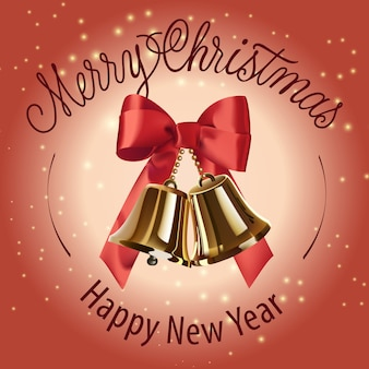 Merry christmas, happy new year lettering with bells