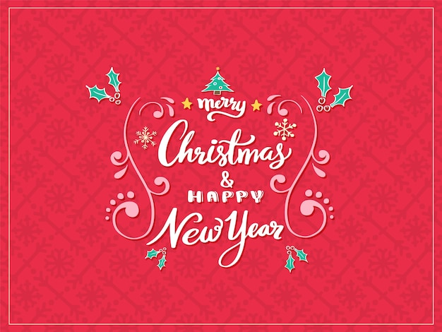 Merry christmas  and happy new year lettering.