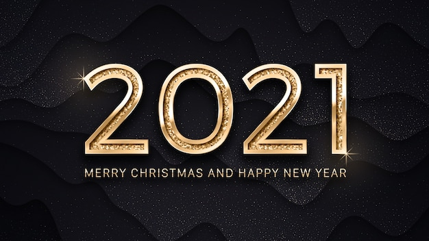 Merry christmas and happy new year luxury golden elegant text greeting card template