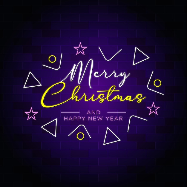 Merry christmas and happy new year neon text with well decoration