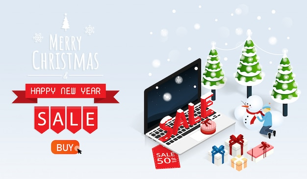 Merry christmas and happy new year online sale vector