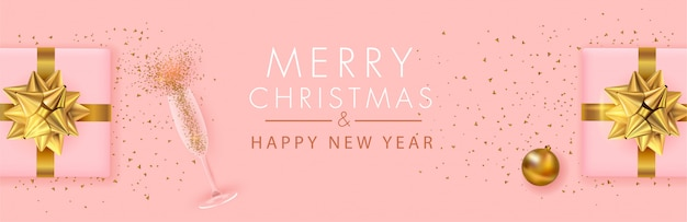 Merry christmas and happy new year panoramic banner