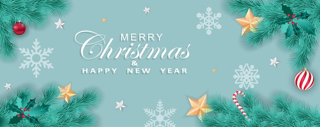 Merry christmas and happy new year panoramic greeting card