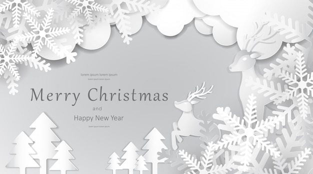 Merry christmas and happy new year, paper art , advertising with winter composition in paper cut style
