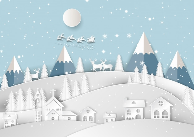 Merry christmas and happy new year paper art and craft style