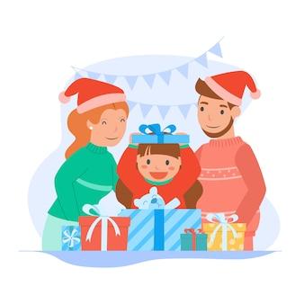Buon natale e felice anno nuovo a genitori e figli.