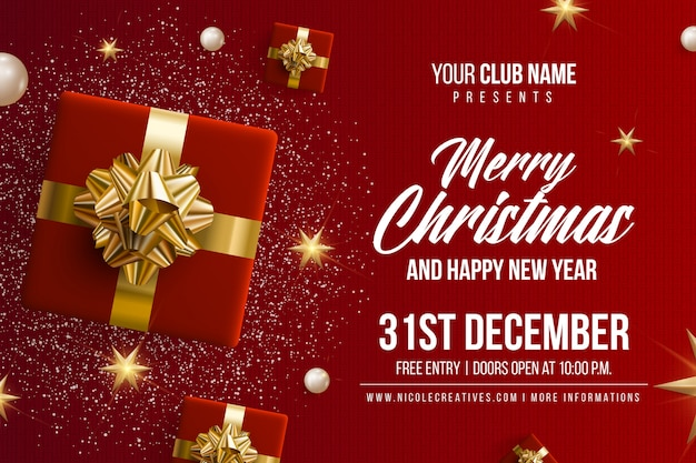 Merry christmas & happy new year party invitation card poster or flyer template