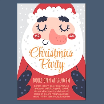 Merry christmas and happy new year party poster flyer design element flat graphic illustrati