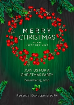 Merry christmas and happy new year party poster. wreath with red berries