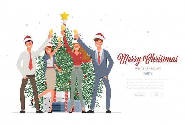 Merry christmas and happy new year party and wearing santa claus hat. web landing page template for winter holidays.