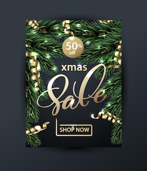 Merry christmas and happy new year pattern of sales banners with christmas branches sale concept