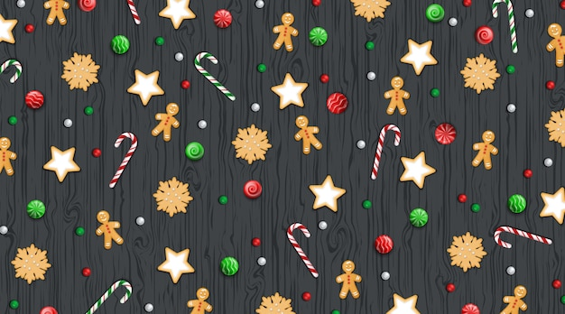 Merry christmas happy new year pattern with winter traditional sweets cookie lollipop Premium Vector
