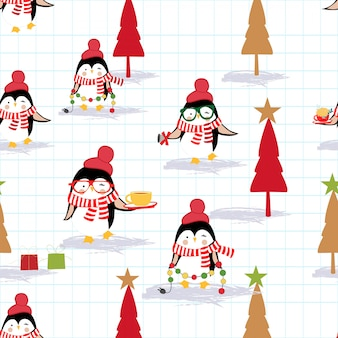 Merry christmas and happy new year penguin